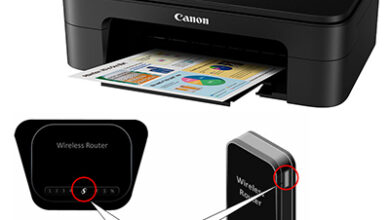 Photo of Canon printer connection on WPS method