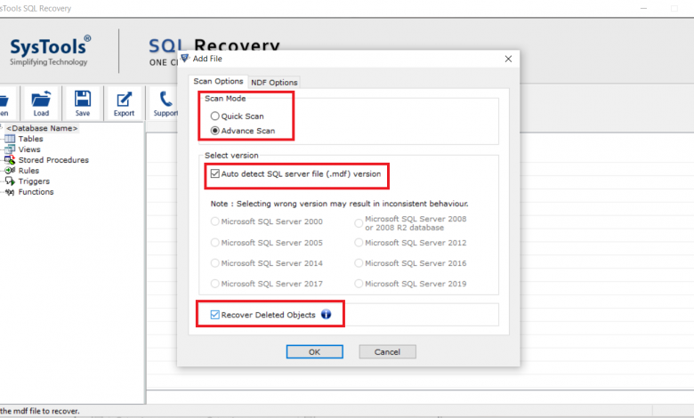 Restore Deleted Database Objects From MDF File